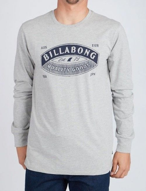 BILLABONG MENS TOP.NEW GUARDIANT GREY COTTON LONG SLEEVED CREW TEE T SHIRT 8W 4